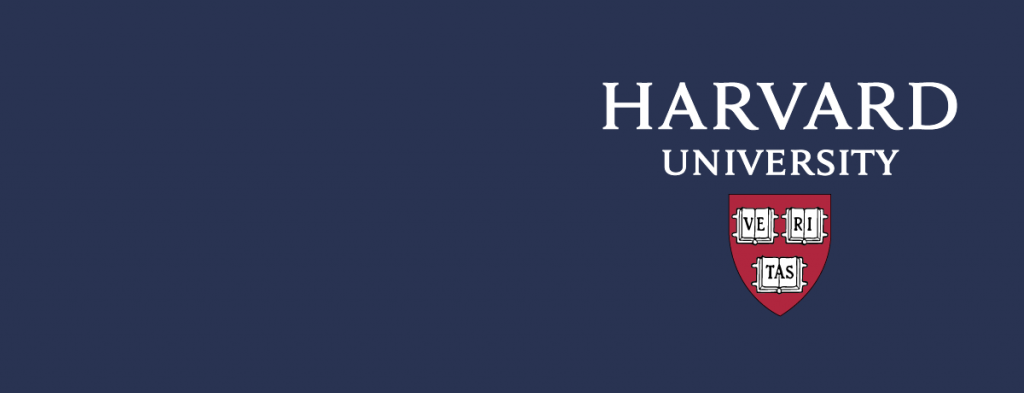blue background with Harvard University logo.