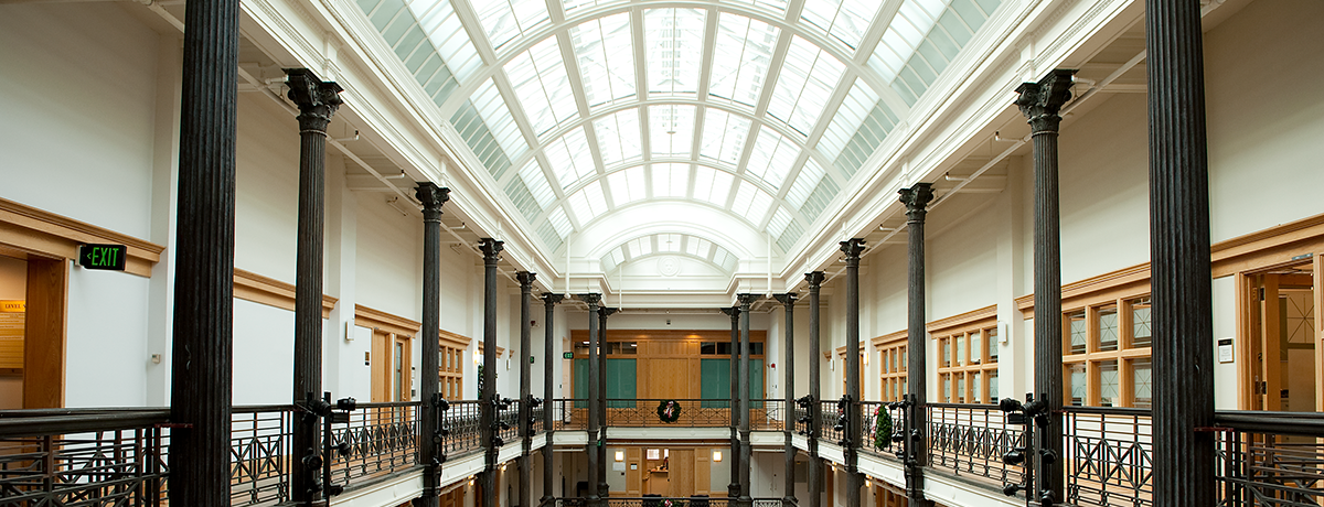 a view of the glass window ceiling inside Gordon Hall.