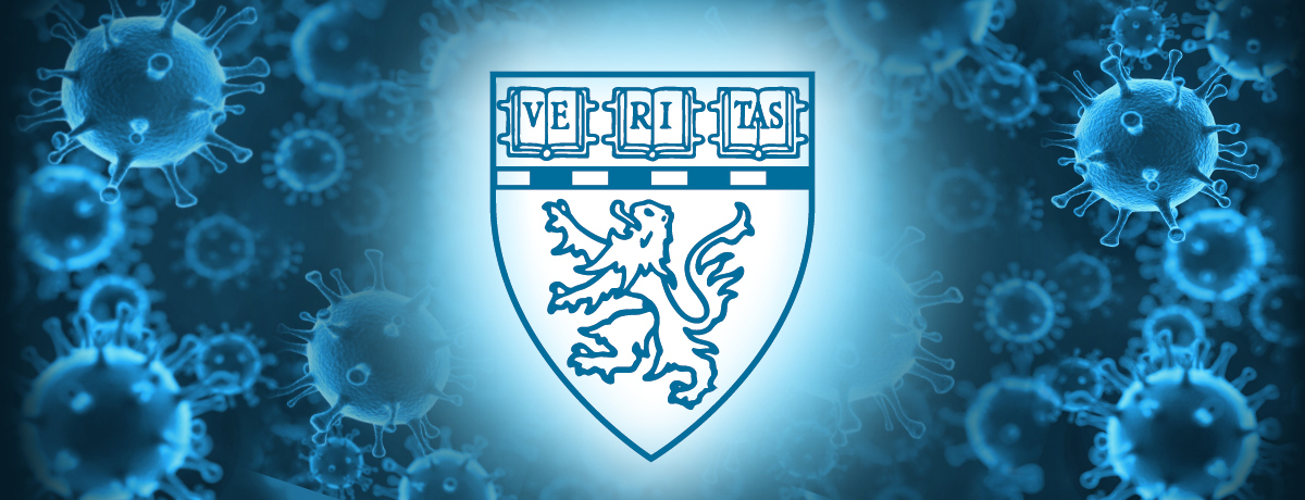 Graphic. Harvard Medical Shield illuminated in front of COVID-19 cells.